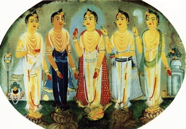 Pañca-tattva Photograph of a fresco in a temple somewhere in the Nadia district. (The tulasī leaf, affixed to Lord Caitanya's feet with sandalwood paste, gives an indication of its actual size.)